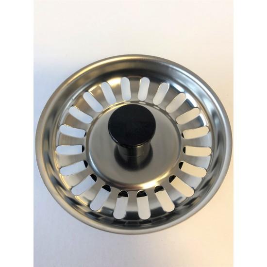 Basket Strainer Plug ONLY - Chrome (black centre)  ** FOR SINKS BEFORE 2000**
